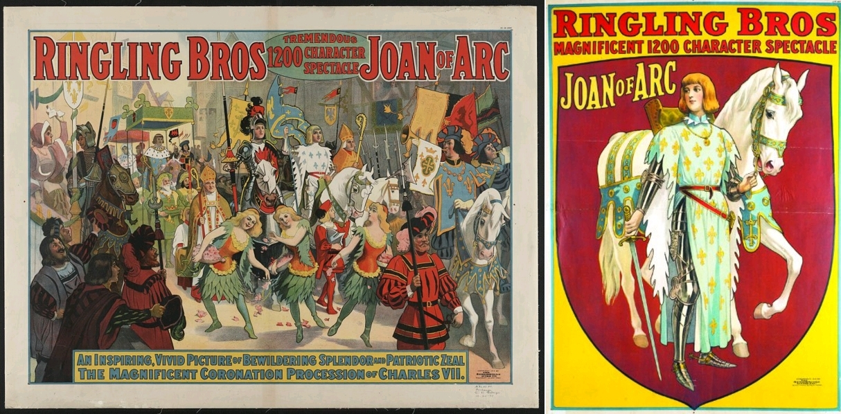 Ringling Bros, Magnificent 1200 Character Spectacle, Joan of Arc, deux affiches publicitaires, circa 1912, The Library of Congress