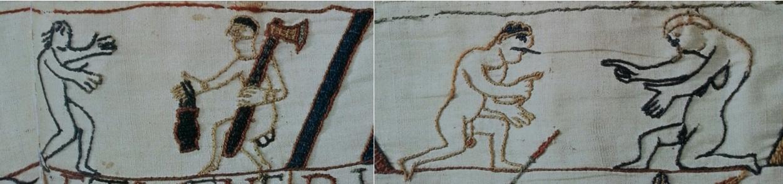 Scène 48, bordure haut - Deux couples nus (montage). Musées de la ville de Bayeux