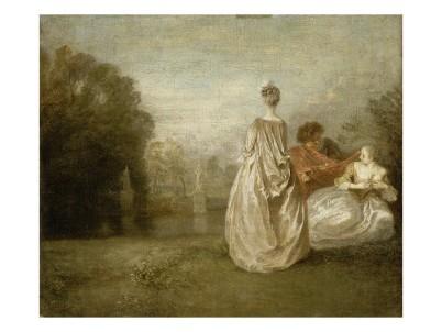 Les deux cousines, Watteau, 1716, Louvre