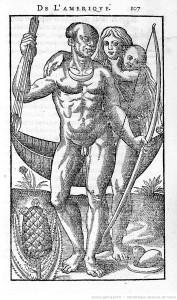 Illustration d'Histoire d'un voyage faict en la terre du Brésil de Jean de Lery, 1580.