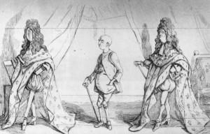 Caricature du portrait de Louis XIV par Hyacinthe Rigaud, William Makepeace Thackeray - The Paris Sketch Book by Titmarsh, 1840.
