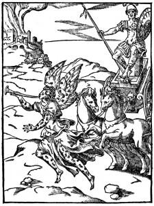 Gravure représentant Fama et Mars sur son char, in Vincenzo Cartari, Imagines deorum, qui ab antiquis colebantur, Lyon, B. Honoratum, 1581, p. 264