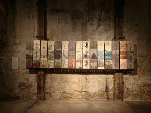 """Iris Crey, """"Les Trois arbres / The Three trees"""", série de 15 tryptiques, impressions sur bois, 2016."""