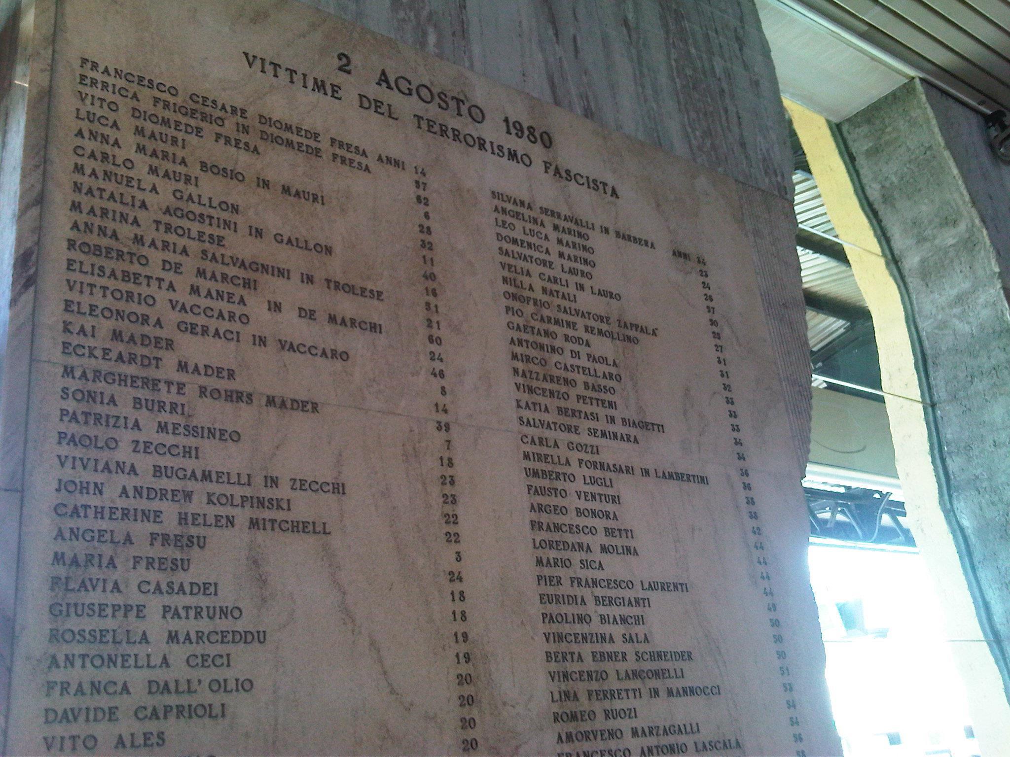 Figure 6: plaque apposée par l'association des victimes : « 2 août 1980. Victimes du terrorisme fasciste » suivi par les noms des 85 victimes et leur âge.