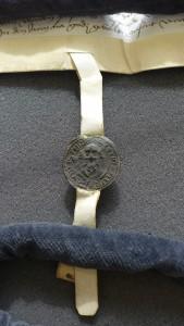 """Das """"kleine Siegel"""" der Stadt Münster als eigenständiges Siegel an einer Geschäftsirkunde (Nordkirchen, Urkunden)"""