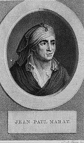 """Portrait de Marat dit """"en train de me narguer à plus de deux siècles de distance"""", Claessens, Wikicommons"""