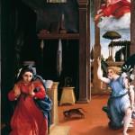 Lorenzo Lotto, Annonciation, vers 1528, huile sur toile, 116 x 114 cm, Recanati, Museo civico Villa Colloredo Mels.