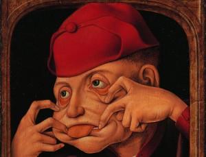 Anonyme flamand : Diptyque satirique, 1520-1530. Huile sur bois, 58,8 cm x 44,( x 6. Collections artistiques de l'Université de Liège