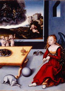 Lucas Cranach l'Ancien, La Mélancolie, 1532, Huile sur bois, 76,5x56cm, Colmar, Musée Unterlinden