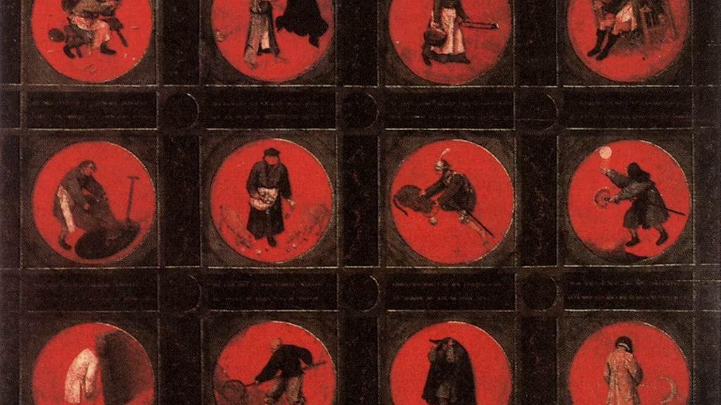 Pieter Bruegel l'Ancien (circa 1525-1569), Douze proverbes flamands, vers 1558, huile sur panneau de chêne, 74,5 x 98,4 cm (pour l'ensemble des douze médaillons), ANvers, musée Mayer Van den Bergh