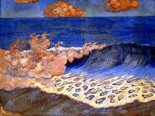 Georges Lacombe,  Marine bleue, effet de vague, vers 1893, tempera sur bois, 49,5 x 65,5 cm, musée des Beaux-Arts de Rennes
