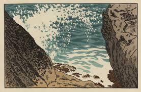 Henri Rivière, Vague frappant les rochers et retombant en arceau, pointe de Lerde (Douarnenez, Bretagne), gravure sur bois, 23x35 cm, Planche n°7 de la série La Mer, étude de vagues, 1892, 1914, BNF.