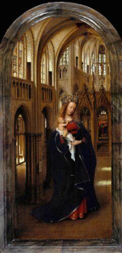 Jan VAN EYCK, La Vierge dans une église, vers 1438, huile sur panneau de bois, 31 x 14 cm, Berlin, Gemäldegalerie