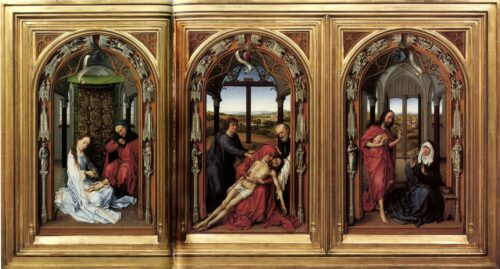 Rogier van der Weyden, Le Retable de Moraflores, vers 1442, huile sur panneaux de bois, 71×43 cm, Berlin, Gemäldegalerie