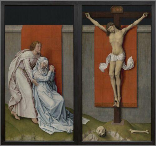 Rogier VAN DER WEYDEN, Diptyque de la Crucifixion, vers 1460, huile sur panneaux de bois, panneau de gauche :180.3 × 93.8 cm, panneau de droite : 180.3 × 92.6 cm, Philadelphie, Philadelphia Museum of Art.
