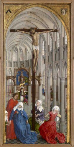 Rogier VAN DER WEYDEN, Retable des sept sacrements, vers 1445 (panneau central : l'eucharistie), huile sur bois, 200 × 97 cm, Anvers, Musée royal des Beaux-Arts.