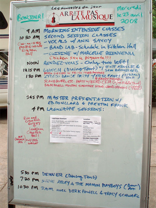 One day schedule at Balfa Camp, April 2008