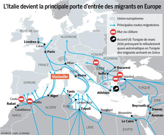 Italie porte d'entrée de l'Europe, infographie Le Monde, OIM