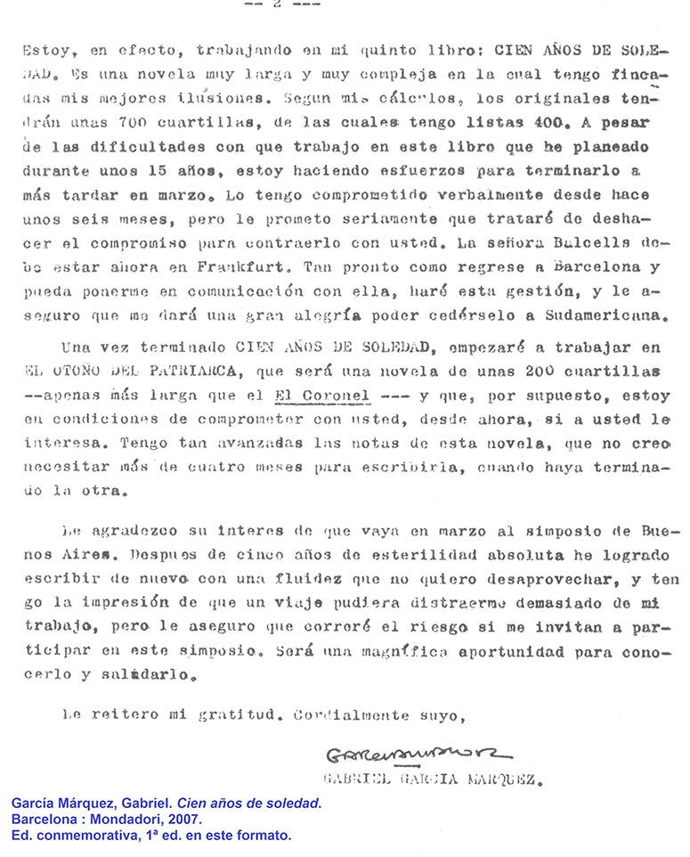 carta de Gabriel García Márquez a Francisco Porrúa
