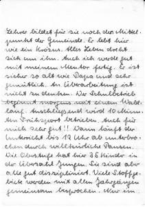 Landschulpraktikum, Brief