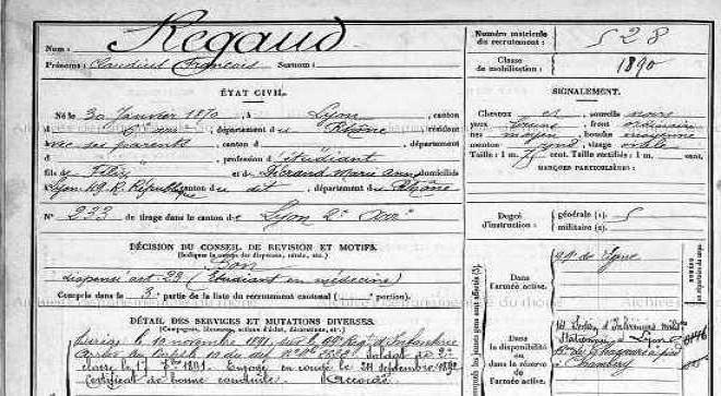 """Mercredi 8 Juin 2016  – """"Sous l'uniforme : recrutement et trajectoires militaires de 1889 à 1919"""" – SHD, Vincennes."""
