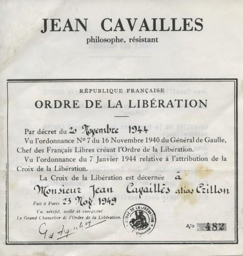 Attribution de la Croix de la Libération à Jean Cavaillès, 23 novembre 1949.