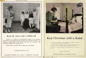 """Keep Christmas with a Kodak!"" 1922, publicités issues de Canadian Kodak Corporate Archive and Heritage Collection, Ryerson University Library and Archives, 2005.001.1.1"