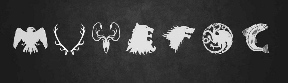 """Symbole der sieben Adelshäuser in """"Game of Thrones"""" (c) twipzdeeauxilia, https://www.flickr.com/photos/57632926@N08/14834104277/, 06.06.2016"""