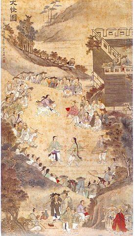 """Das """"Dae-Kwae-Do"""" (대쾌도, 大快圖œ–), von Hyesan Yu Suk (유숙 / 劉淑')(1827–1873). Maler des königlichen Hofes. Das Gemälde entstand um 1846. Es zeigt oben Ssireum (trad. koreanisches Ringen) und unten Taekkyon (trad. koreanische Kampfkunst) bei einem Fest."""