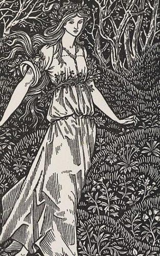 """Frontispiz der Kelmscott-Edition von 1894, William Morris, """"The Wood Beyond the World"""", der Autor stand der <a href=""""https://de.wikipedia.org/wiki/Präraffaeliten"""">Präraffaelitischen Bruderschaft</a> nahe, zu ihren früheren Vertretern gehört auch der Autor des Frontispiz, Sir Edward Coley Burne-Jones."""