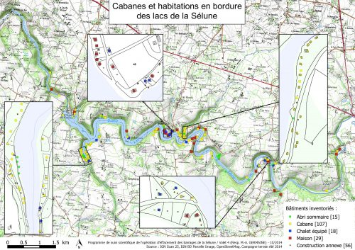 Figure 5 – Carte de localisation des constructions en bordure des lacs
