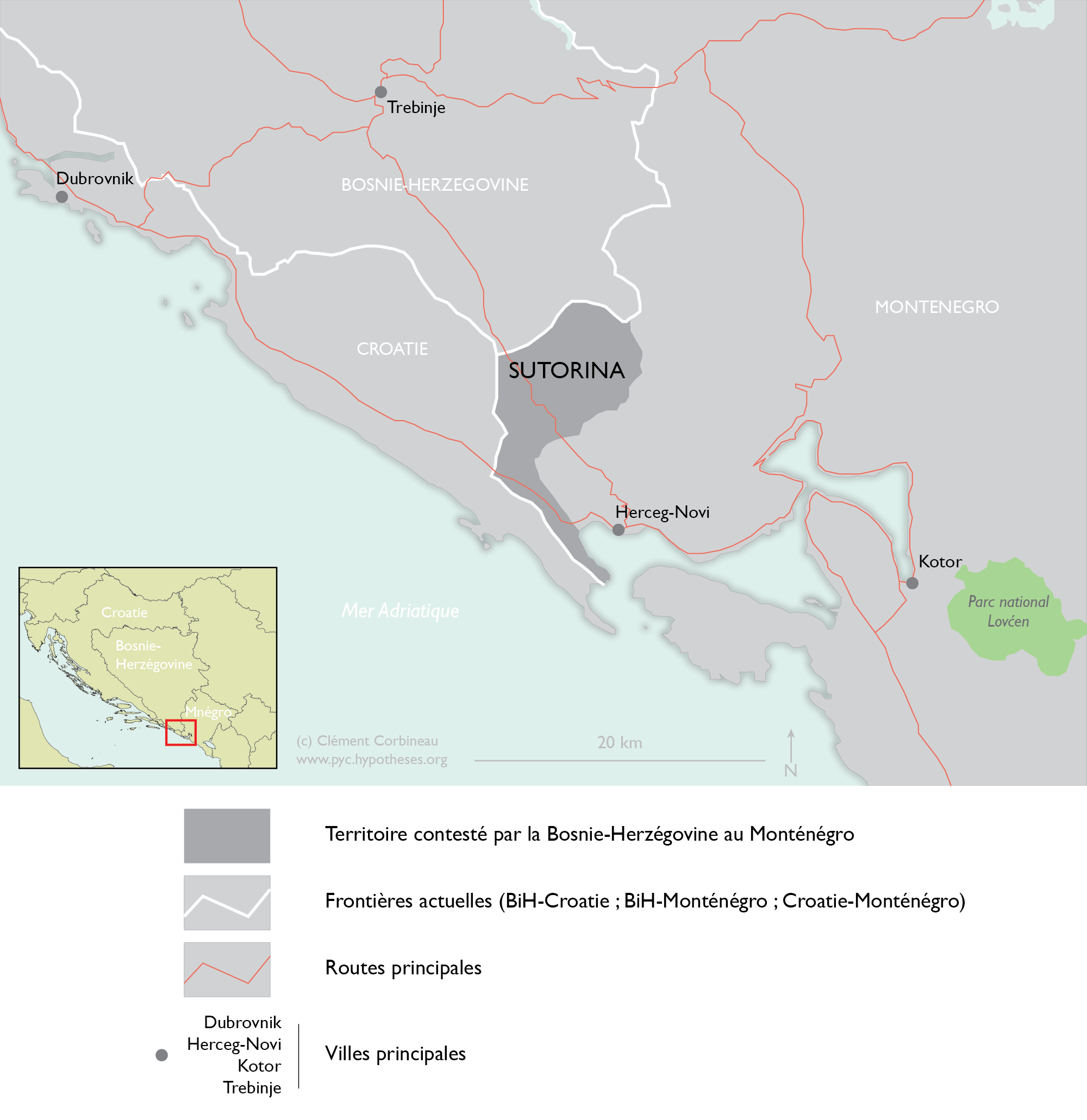 Map Sutorina Bosnia Montenegro