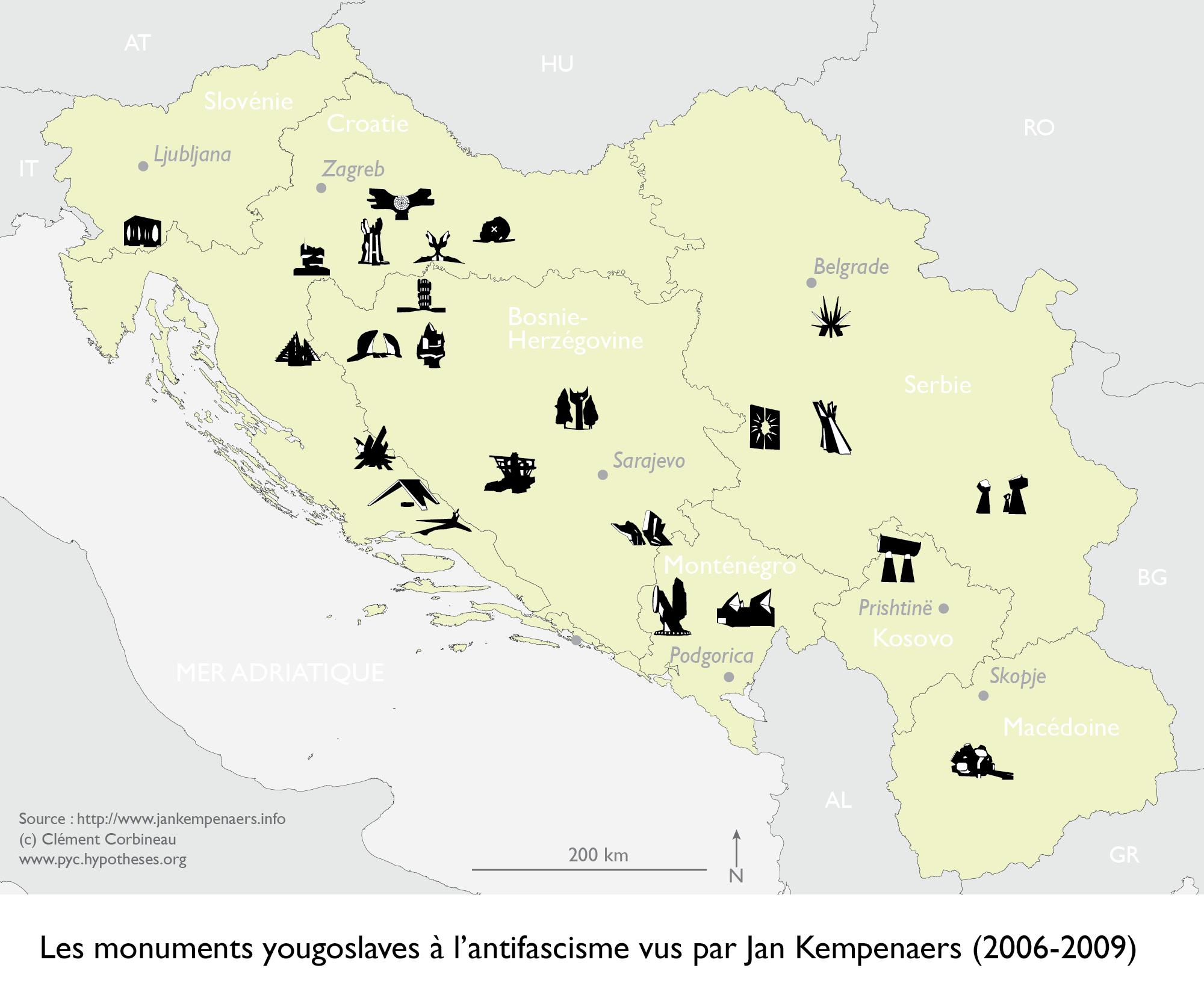 Map Spomenik Yugoslavia