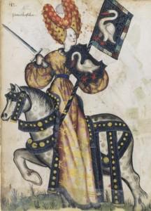 Penthésilée et ses armes au cygne blanc, Petit armorial équestre de la Toison d'or, BnF, Manuscrits occidentaux, Clairambault 1312, fol. 248.