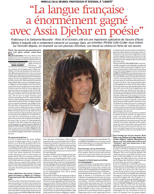 Journal Liberté Algérie du 11 février 2015
