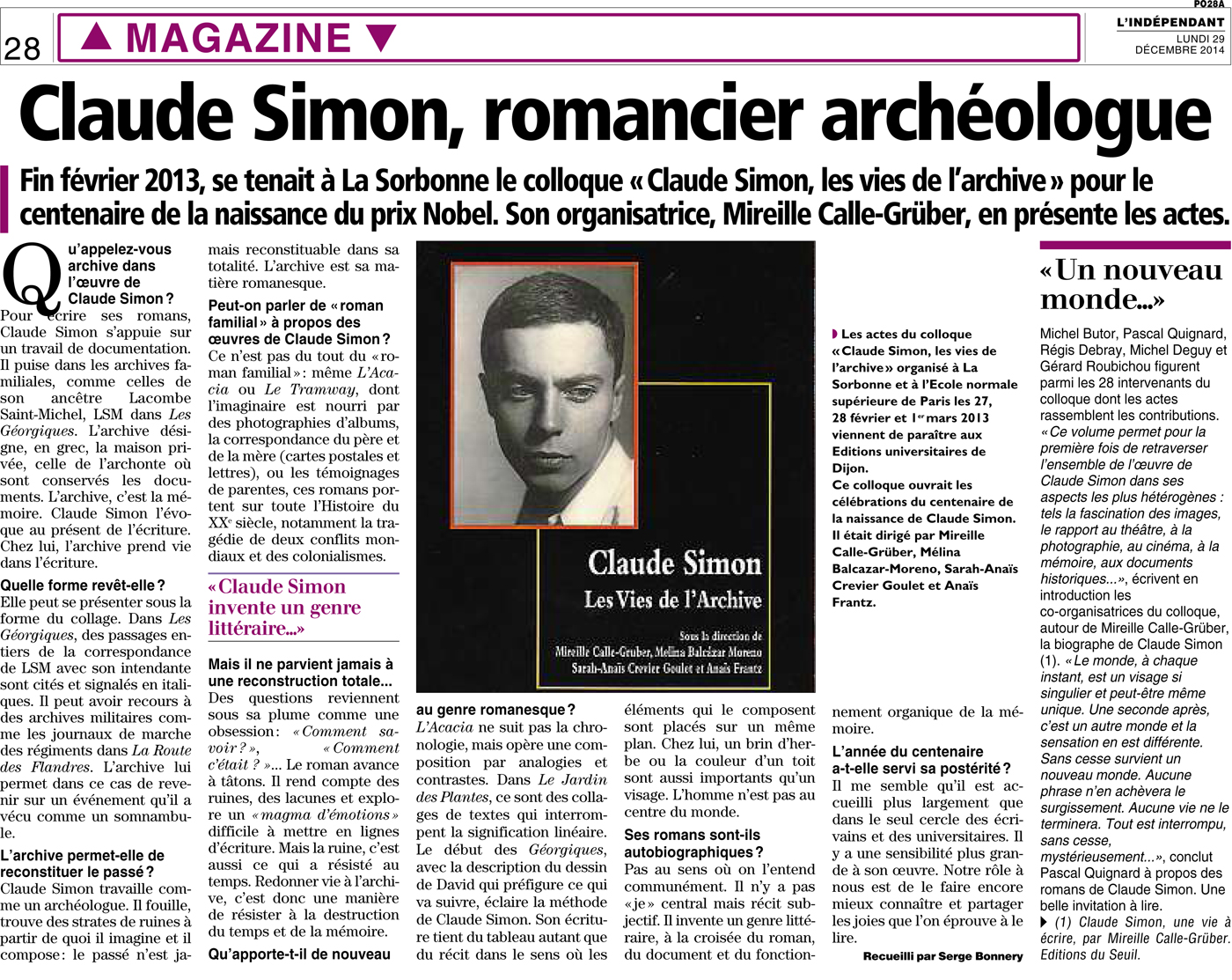 Claude Simon, romancier archéologue