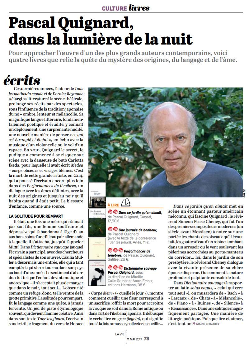 Pascal Quignard, Dans La Lumi�re De La Nuit