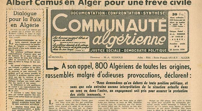 22 janvier 1956 – L'Appel pour une trêve civile en Algérie : Acteurs, contexte et prolongements
