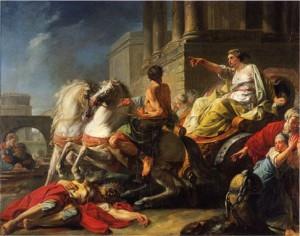 Jean Bardin, Tullie faisant passer son char sur le corps de son père, 1765, huile sur toile, 114 x 145 cm, Mayence, Landesmuseum Mainz.