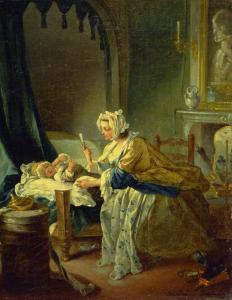 Michel-François Dandré Bardon, Les quatre âges de la vie : la naissance, 1743, huile sur toile, 36,5 x 28,7 cm, Aix-en-Provence, musée Grasset.