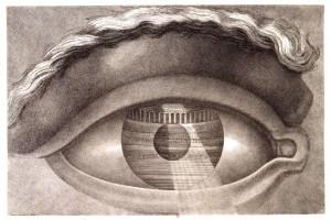 Claude-Nicolas Ledoux, Œil reflétant l'intérieur du théâtre de Besançon, 1804, gravure, Paris, Bibliothèque nationale de France