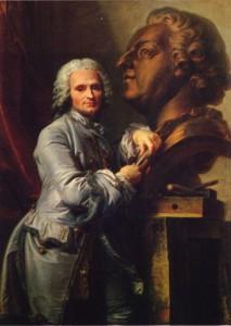 Jean Valade, Portrait de Jean-Baptiste Lemoyne sculptant le portrait de Louis XV, 1754, huile sur toile, 130 x 98 cm, Versailles, musée national des châteaux de Versailles et de Trianon.