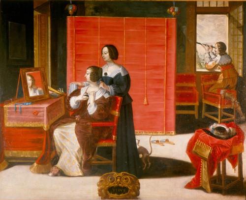 Abraham Bosse (d'après), La Vue (Femme à sa toilette), après 1635, huile sur toile, 104 × 137 cm, Tours, musée des Beaux-Arts.