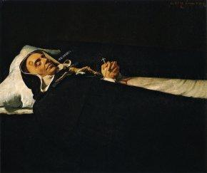 Diego Rodríguez de Silva y Velázquez (1599-1660) ?, ici attribué à Vicente Carducho (vers 1576 – 1638) Le Père Simon de Rojas sur son lit de mort Vers 1624 Huile sur toile 101 × 121 cm Museo de Bellas Artes, Valence.