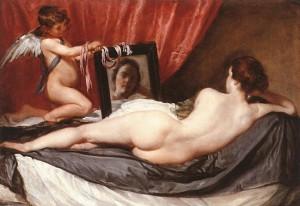 Diego Rodríguez de Silva y Velázquez (1599-1660), La Toilette de Vénus ou Vénus au miroir, Vers 1647-1651, Huile sur toile, 122,5 × 177 cm, Londres, The National Gallery.
