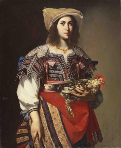 [Fig. 6] Massimo Stanzione, Portrait de femme au coq en costume napolitain, vers 1635, huile sur toile, 118,7 x 97 cm, San Francisco, Fine Arts Museum.