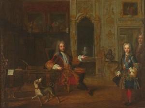 Attribué par Christophe Henry à Philippe d'Orléans, Philippe, duc d'Orléans et régent de France, dans son cabinet de travail, vers 1717, huile sur toile, 103 x 138 cm, Versailles, musée national des châteaux de Versailles et de Trianon.