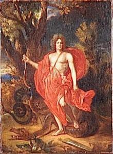 Nicolas de Largillière, Le Régent vainqueur de la conspiration sous la figure d'Apollon Pythien, huile sur toile, 41 x 30 cm, Versailles, musée national des châteaux de Versailles et de Trianon.