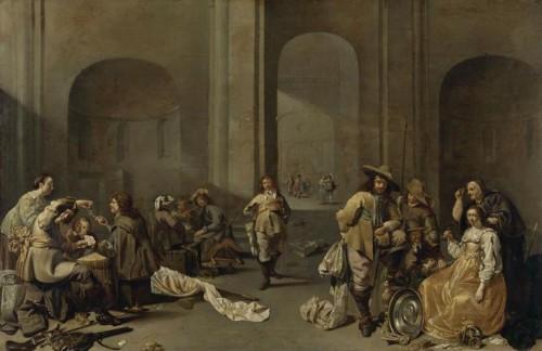 Jacob Duck, Le Dépôt du butin : intérieur d'un corps de garde dans une ancienne église romane, XVIIe siècle, huile sur toile, 55 x 84 cm, Paris, musée du Louvre.