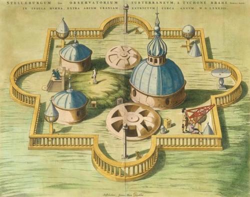Johannes Blaeu, Observatoire de Tycho Brahe, 1667, gravure sur cuivre mise en couleurs, Paris, Bibliothèque nationale de France.